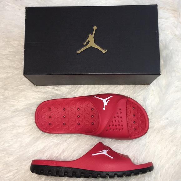 quality design 13912 dca1e JORDAN university red super fly team slide sandals